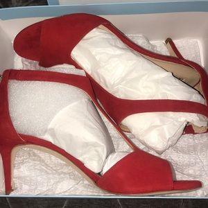 ANTONIO MELANI Shoes - Red 2 inch velvet heels